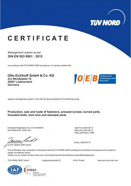 Certificate DIN EN ISO 9001:2015